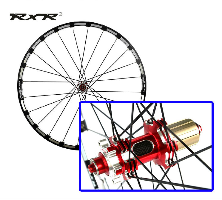 new RXR MTB mountain bike CNC hollow front 2 rear 5 sealed carbon bearings hub 26/27.5/29 inch Disc brake wheels wheelset <font><b>rim</b></font> image
