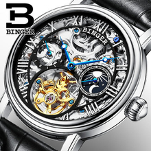 Genuine Swiss BINGER Men sapphire luxury self-wind automatic mechanical full steel dual Tourbillon hollow waterproof