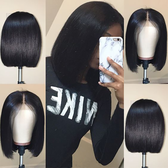 Short Lace Front Human Hair Wigs Brazilian Remy Hair Bob Wig with Pre Plucked Hairline Bleached Knots