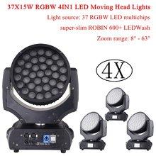 4xlot 37x15w моющиеся движущиеся фары rgbm 4in1 светодиодные