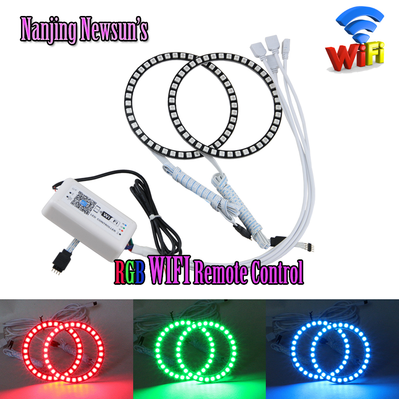 2PCs RGB Led Angel Eyes Halo Ring 72mm 75mm 80mm 90mm 100mm 120mm For Audi WIFI Remote Control Color Change DRL Driving Fog Lamp 4 90mm rgb led lights wholesale price led halo rings 12v 10000k angel eyes rgb led angel eyes for byd for chery for golf4