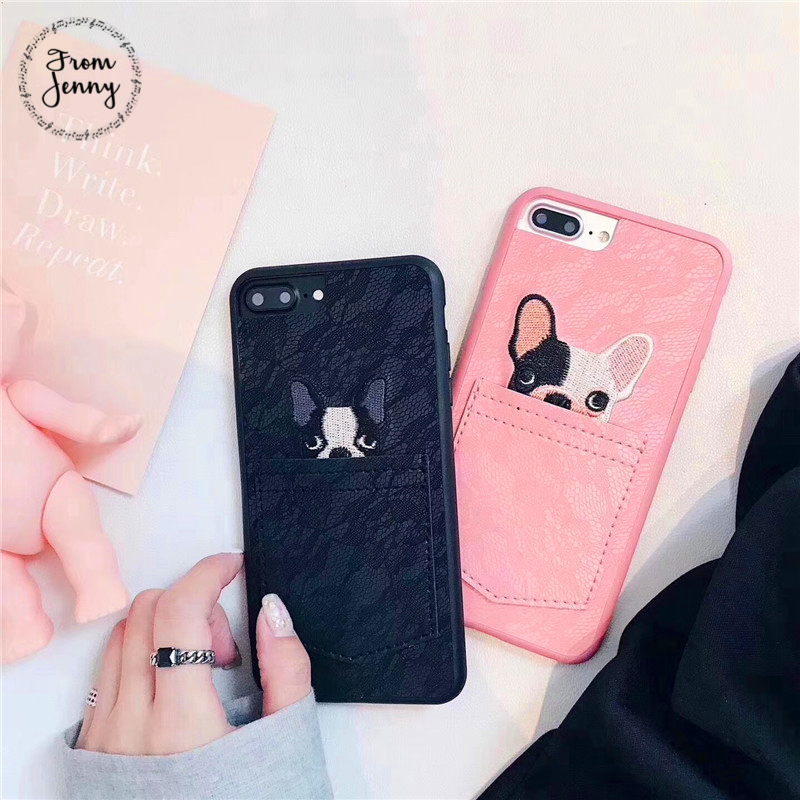 From Jenny For Apple iPhone 7 7plus 8 Case Korean Cute Dog in the pocket lace phone cover couple cases New For iPhone 8 8plus X