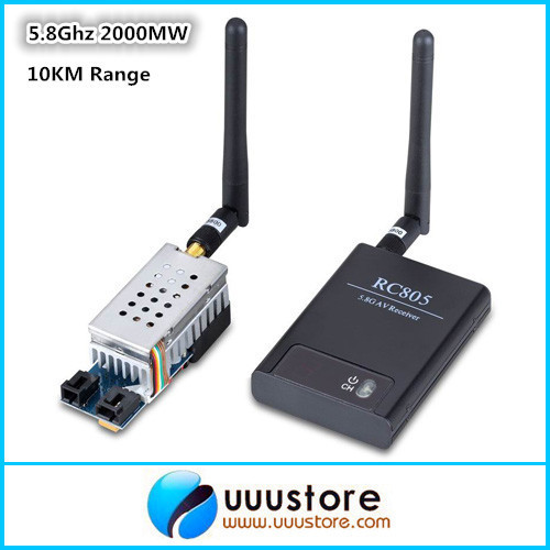 Boscam 5.8G 5.8Ghz 2W 2000mW 8 Channels Wireless Audio Video FPV Transmitter TS582000 and RC805 Receiver Combo fpv tx52w 5 8ghz 2000mw 8 channels high power wireless a v transmitter sma plug jack