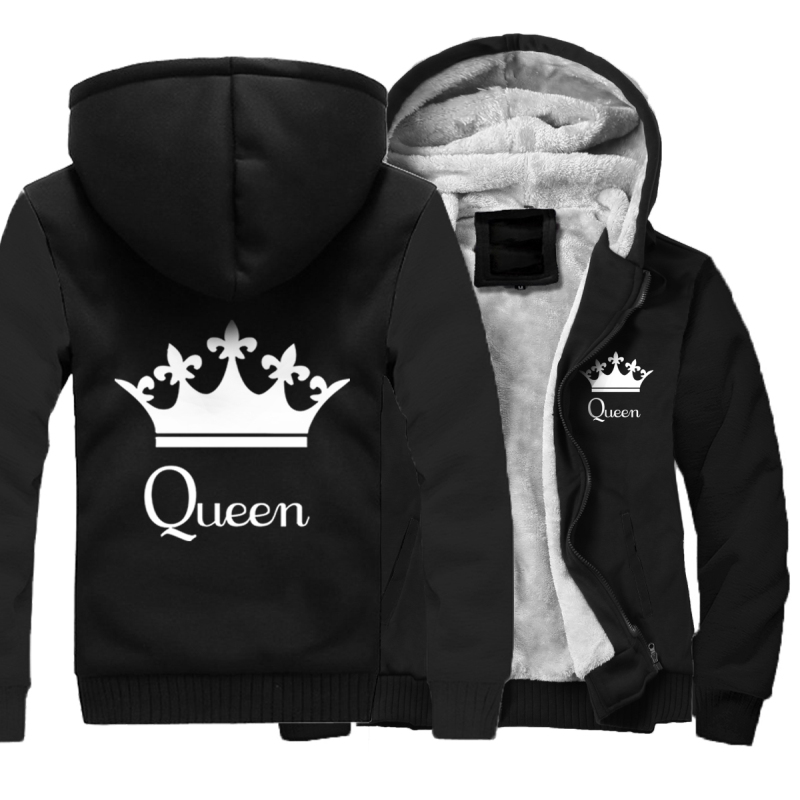 Men's And Women's Winter Thick Jacket Love's And Couple's King And Queen Coat Hooded Sweatshirt With Polyster Villus Lining