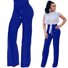 Hot sale solid color wide leg pants eyelet bandage trousers fashion temperament elegant wild African women summer
