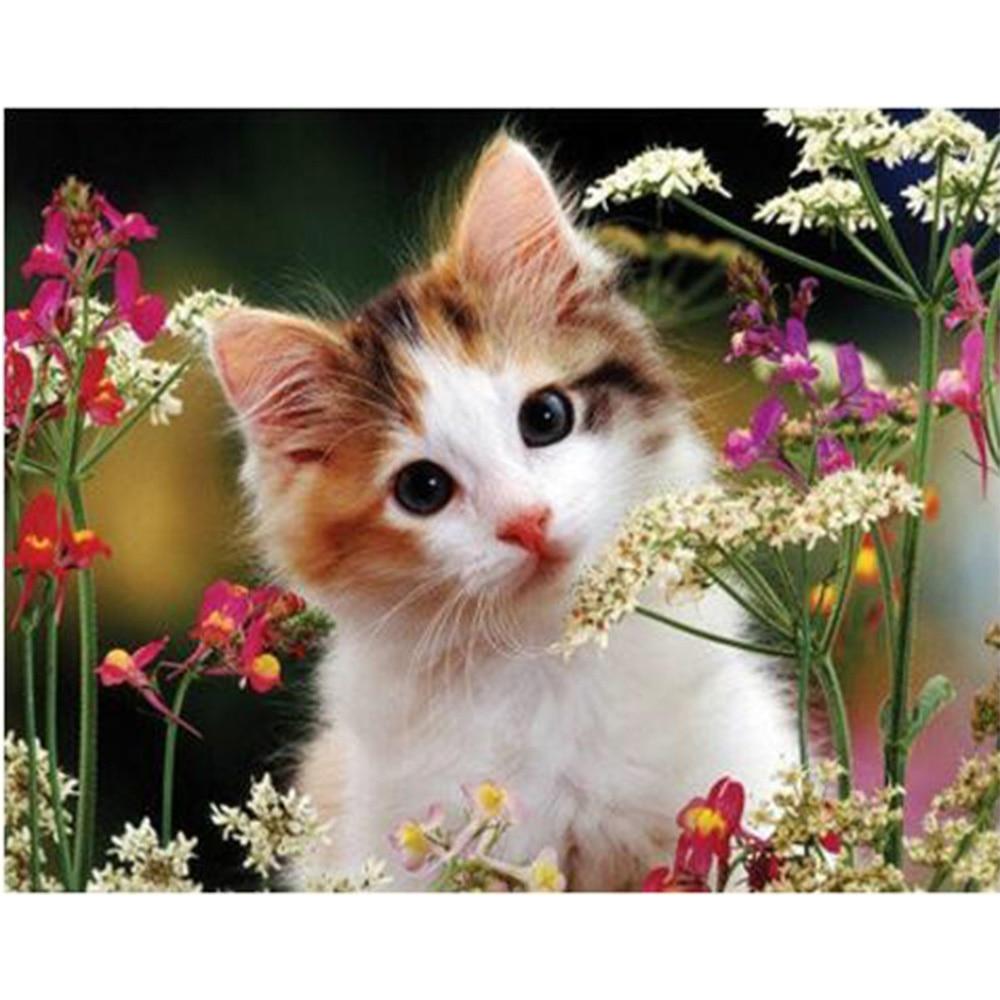 Diamante bordado gato y flores pintura diamante taladro animal Europa - Artes, artesanía y costura