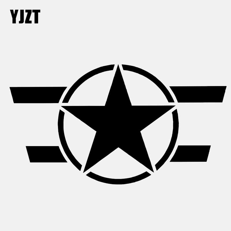 YJZT 12.7CM*7.1CM Star Car Sticker Motorcycle Vinyl Decals Black/Silver C3-0707