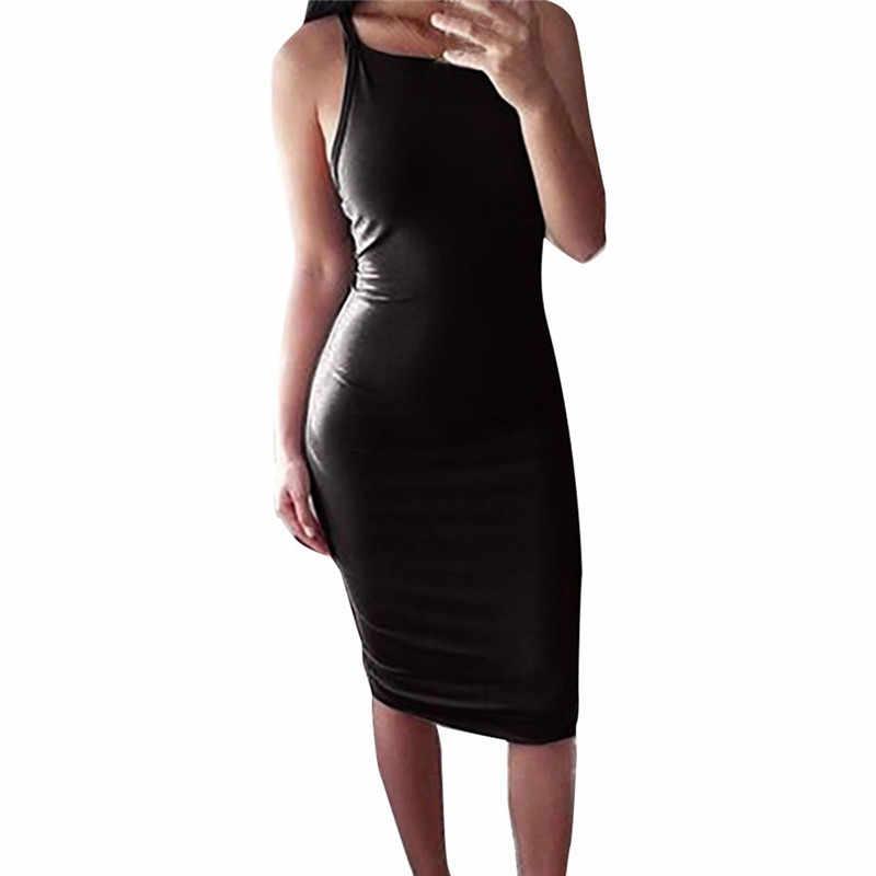 女性のファッション女性のポリエステルレディースソリッドノースリーブ膝丈 O ネックスリングスリムドレスセクシーな Vestidos