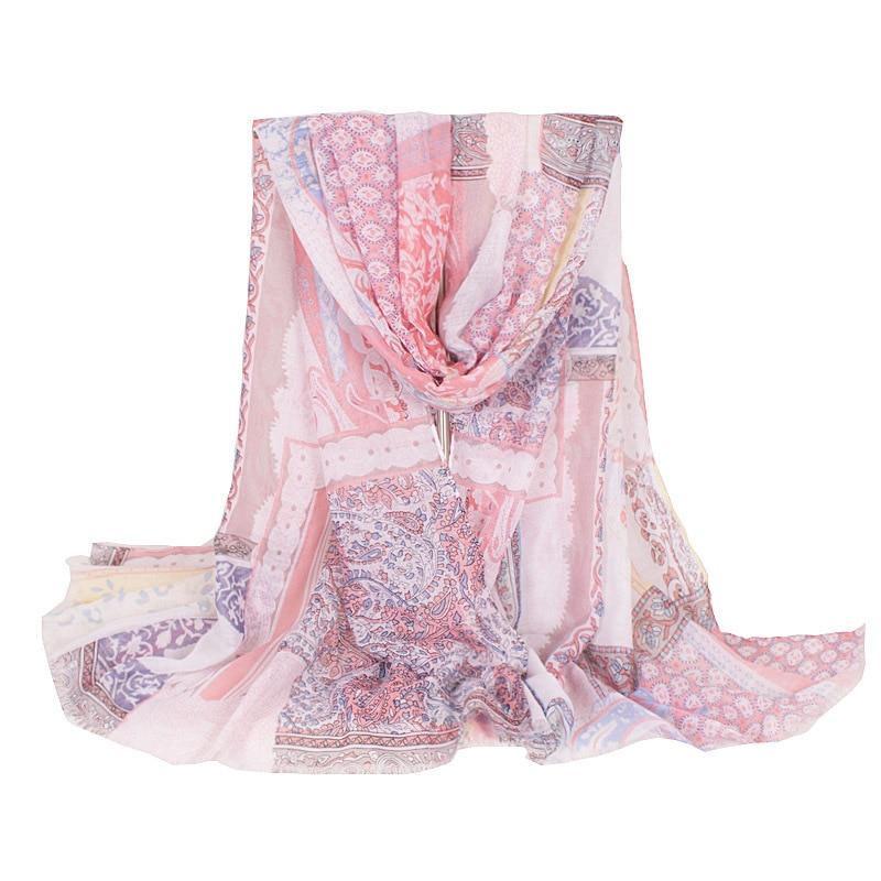 2018 New Fashion Pink Flowers Print Lightweigth Women Large Long Scarfs Summer Big Luxury Shawls