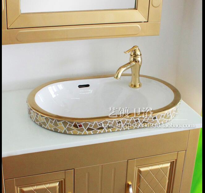 Art Sanitary Gilded Golden Color Basin Semi Embedded Wash Round Porcelain Bathroom Sinks Pj1103 In From Home Improvement On