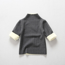 Winter All-match Child Striped Fleece Pullover Turtleneck Bottoming shirt Baby Girls Warm Solid Tops Pretty Long-Sleeve T-shirts