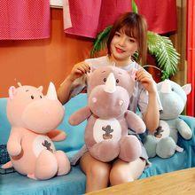 New rhinoceros doll soft cute plush toy animal pillow to send girlfriend children birthday gift Мягкие игрушки Stuffed Toys WJ64