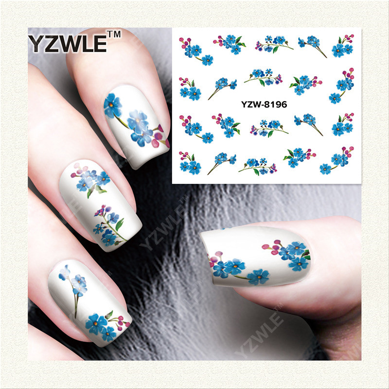 YWK  1 Sheet DIY Designer Water Transfer Nails Art Sticker / Nail Water Decals / Nail Stickers Accessories (YZW-8196) 1pcs water nail art transfer nail sticker water decals beauty flowers nail design manicure stickers for nails decorations tools