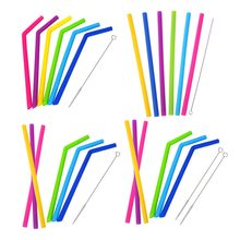 Food Grade Reusable Silicone Straws with Cleaning Brushes 6 Colors Eco-Friendly Drinking Straws Party Bar Accessories(China)