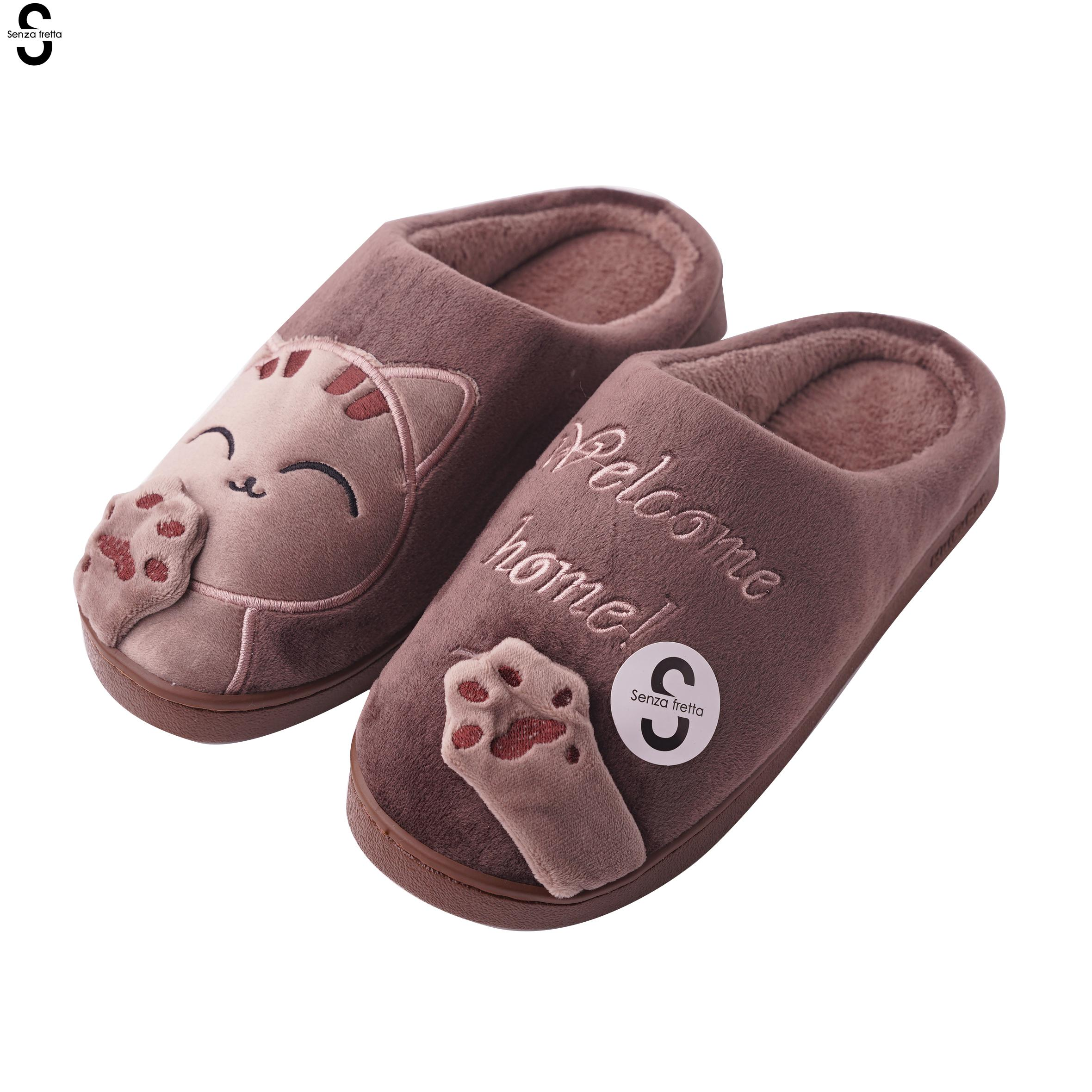 Senza Fretta Winter Men Slippers Cartoon Cat Couple Cotton Men Slippers Indoor Soft Thick Bottom Warm Slippers Couple Plus Size