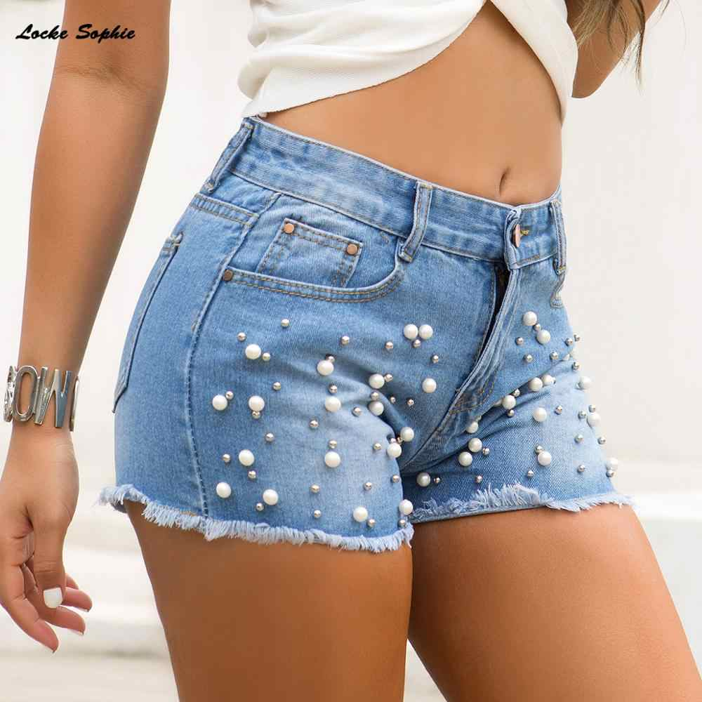 1pcs Hoge taille Vrouwen Sexy super denim shorts 2019 Zomer denim katoen Kralen shorts Dames Skinny club super korte jeans Meisjes