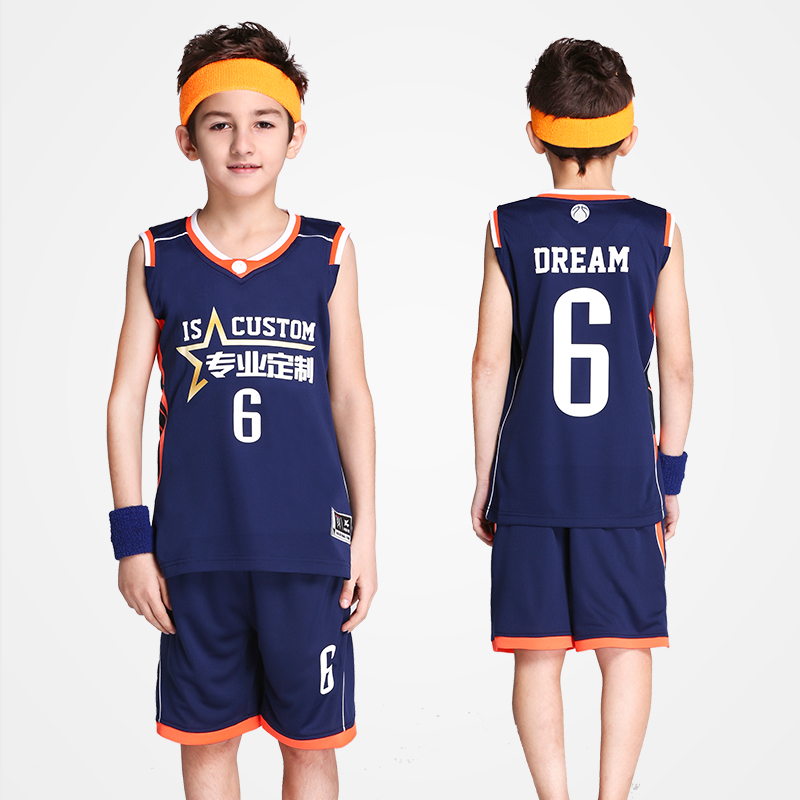 18 Color Children's Basketball Jersey & Shorts 2PCS Suit Boy Students Private Custom LOGO Name Number Set Training Uniforms Kids new 2017 men s basketball sportswear suit sets jacket and shorts personality print custom logo training wear