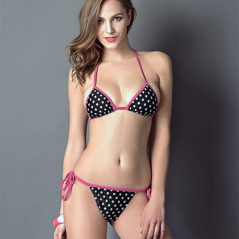 Pink Polka Dot Bikini 2017 Female Micro Bikinis Hot -2794
