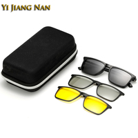 Yi Jiang Nan Brand TR90 Frames Fashion Designer Eyeglasses Magnet Clip Lenses Frame Sunglasses Polarized Lenses 3D Glasses