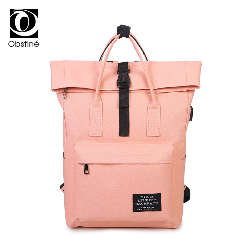 15.6 Inch Laptop Backpacks External Usb Charge Canvas Backpack College Student School Back Pack Girls Bagpack Anti Theft