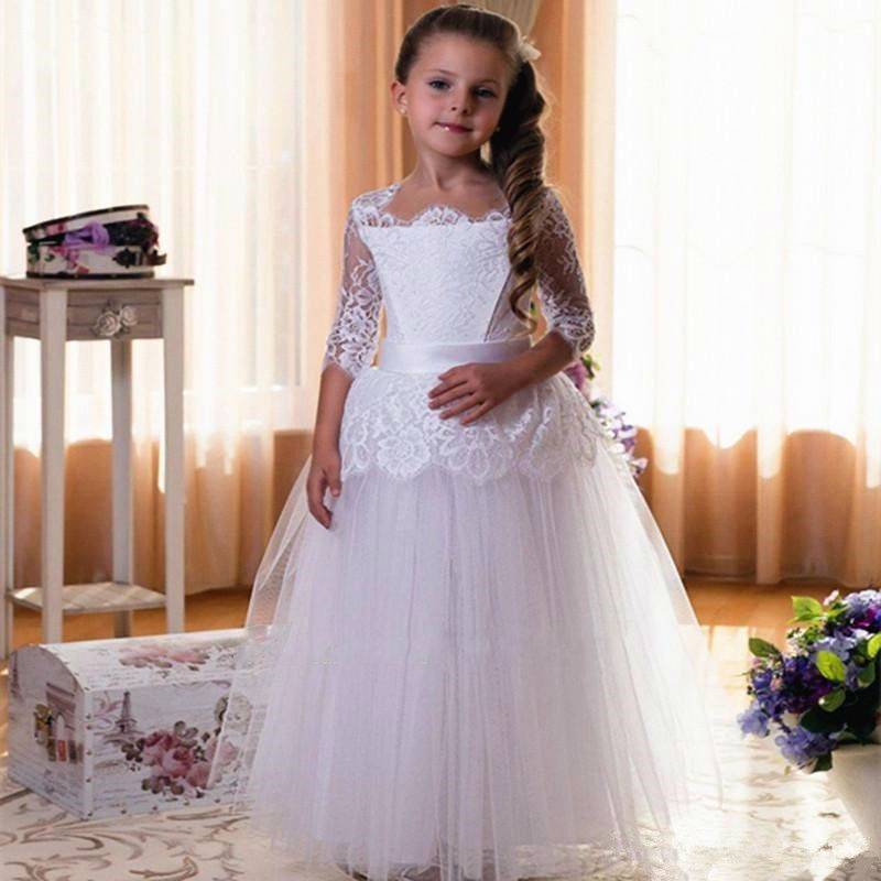 White Ivory Flower Girl Dress Princess Lace Three Quarter Sleeves Long Puffy Girls Christmas Dresses Girls Lace Up Back New Hot light peach allover lace three fourth sleeves dress pink