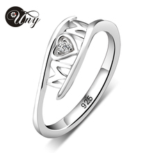 UNY 925 Sterling Silver Special Customized Engrave Family MOM Letter Shape Birthstone Ring Personalized Special Valentine
