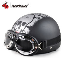 2018 Cool Skull Open Face Half Motorcycle Helmet Goggles Visor Motocross Mask Moto Helmet Vintage Half