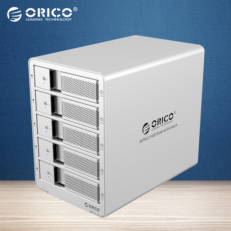 ORICO 9558RU3 5 bays 3.5 USB3.0 ESATA Raid HDD Enclosure 5 bay HDD Docking Station Case for Laptop PC (Silver)