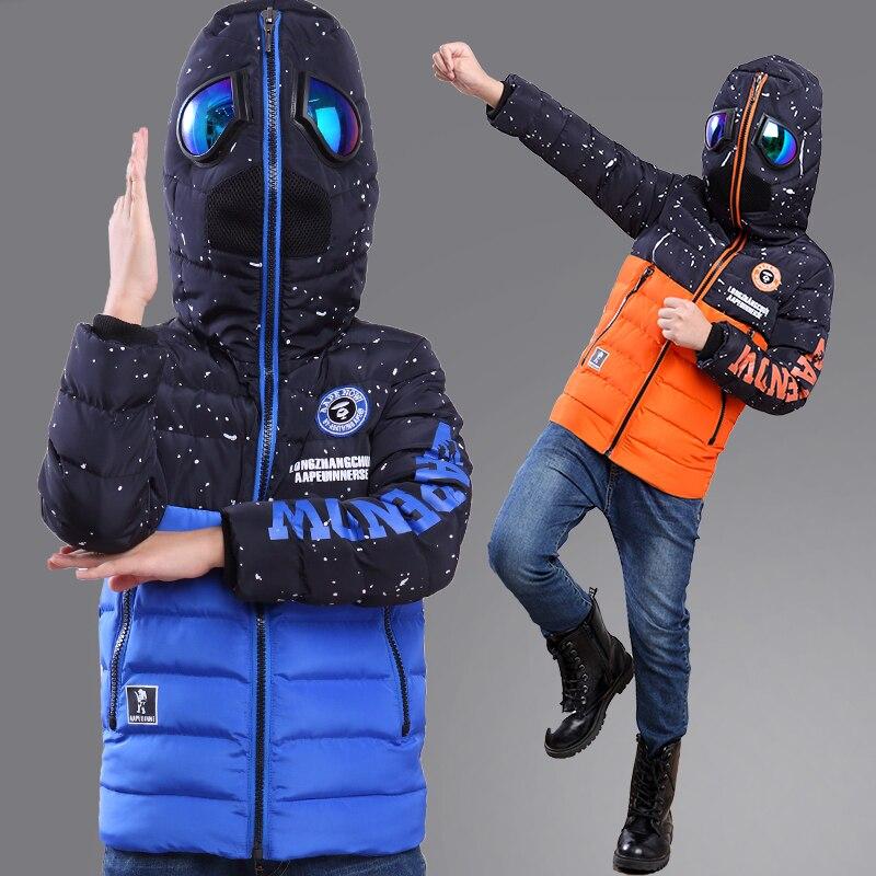 Зимнее пальто для мальчиков, Детская куртка с капюшоном, очки, детская одежда для 3, 4, 5, 6, 8, 10 лет, бархатная куртка с рисунком, kamiwa