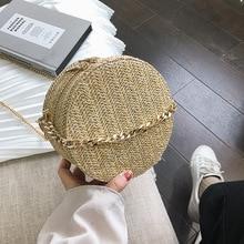 2019 Summer Beach Bag Ratten Shoulder Straw Round Women Clutch Purse Womens Bags Handbags Fashion Zipper Circular Bolsa