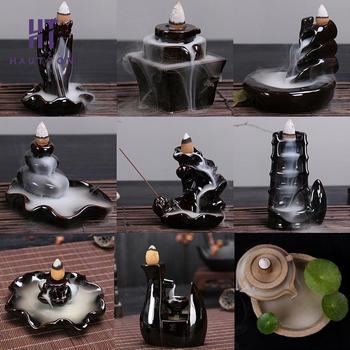 Mini Keramik Rauch Rückfluss Turm Weihrauch Brenner Aroma Brenner Wohnkultur Lotus Bergamotte Weihrauch Räuchergefäß für Home Office Teehaus