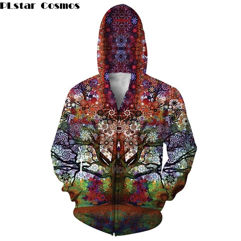 PLstar Cosmos Psychedelic tree Hoodies Trippy Visionary Artwork Rainbow Mandala Chakra Art Sublimation Print Hoodies