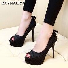 купить New Summer Peep Toe Woman Lazy Pumps Fashion Bow Knot Party High Heel Platform Thin Heels Woman Black Sandals Shoes CH-A0063 по цене 1992.42 рублей
