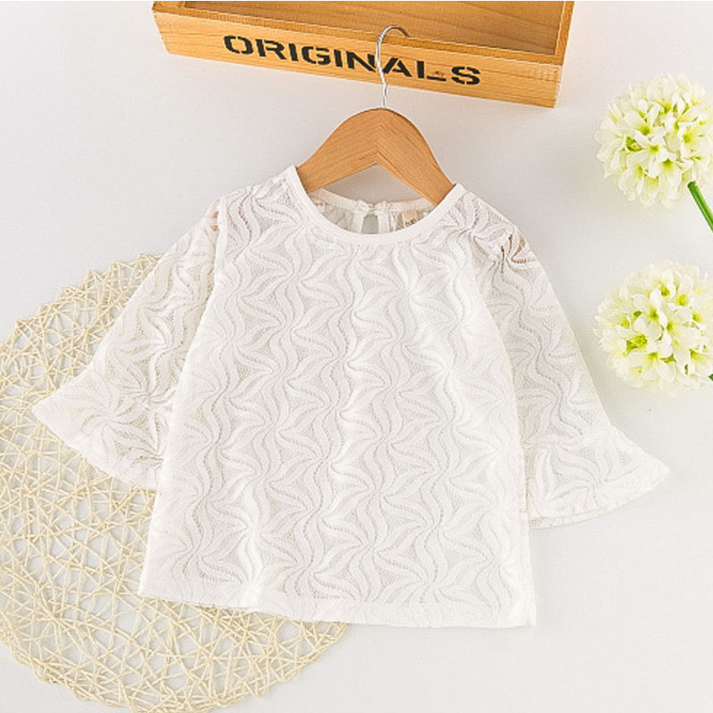 Brand Autumn Girls Clothes 2017 New Girls Clothing Sets White Lace Net yarn Long Sleeves+Harness Skirt Childrens Clothing