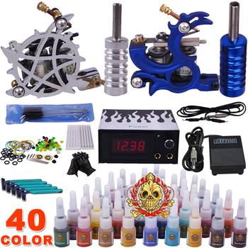 Professional complete tattoo kit tattoo machine liner and shader 2 top tattoo gun 40 color inks YLT-70
