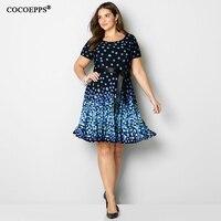 COCOEPPS 2019, большие размеры, вечерние платья, летнее винтажное синее платье в горошек длиной до колена, свободное платье макси, 5XL 6XL, платья боль...