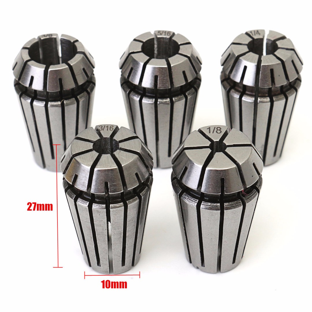 "5pcs 1/8,3/16,1/4,5/16,3/8"" ER16 Spring Chuck Collet Set For CNC Lathe Milling Engraving Machine"