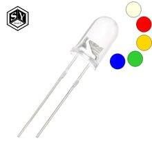 Lâmpadas de led transparentes 100 pçs/lote tzt, redondas 5mm, água super brilhante, verde, vermelho, branco, amarelo, azul, emissor de luz diodo f5