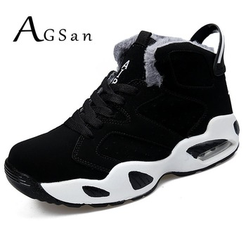 AGSan men boots couple men's winter warm snow boots mens fur plush high top ankle boots sneakers work shoes men botas lace up