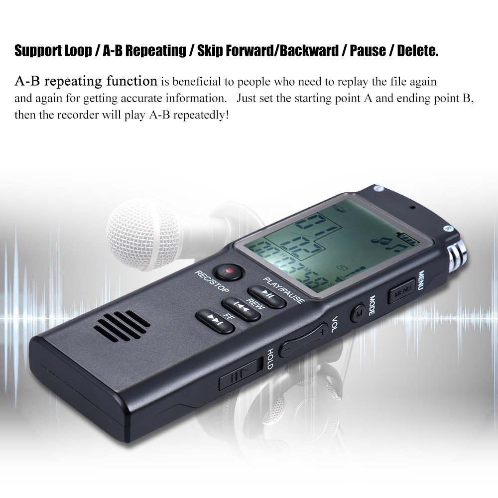 8 GB 1536 Kbps Audio grabadora Digital de voz MP3 reproductor de ...