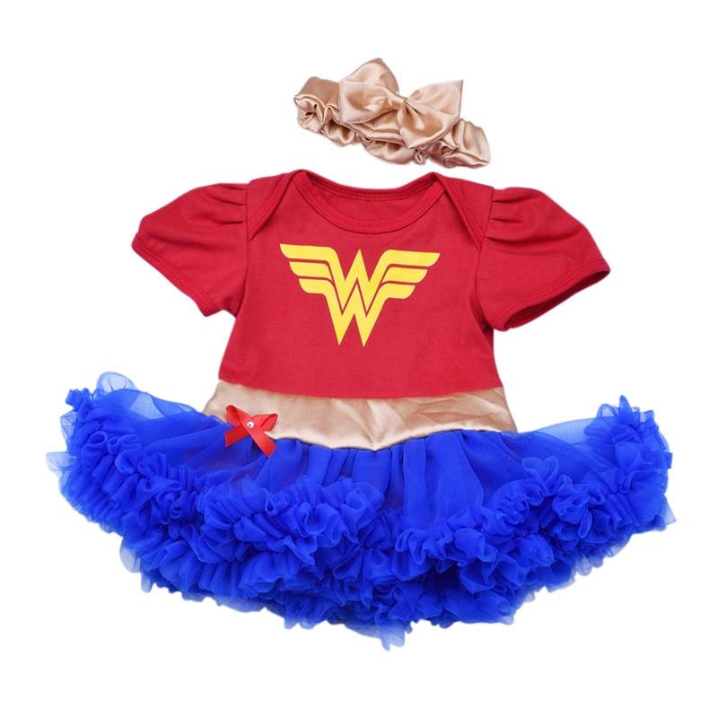 Bebê menina tutu vestido conjunto cosplay super-herói maravilha mulher superman batman trajes com bandana infantil criança verão mini vestido