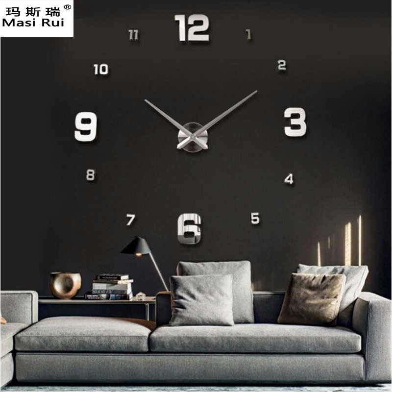 Promotions 2017 New Large Wall Clock Modern Design 3D DIY Watch Interior Home Decoration Reloj