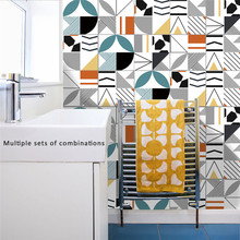 Hot Geometric Colored Lines Mosaic Wall Tiles Stickers Waist Line for Kitchen Bathroom Toilet Waterproof PVC Removable Wallpaper