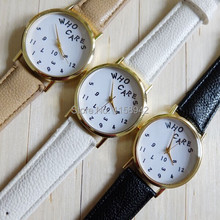 Who Cares Watch 2017New Arrival Girls Stylish Leather-based Quartz Watches Promotional Small pure and contemporary and letters watches 1pcs
