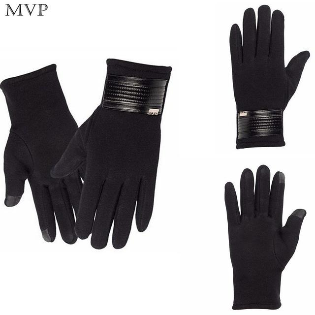Men Winter Casual Warm Waterproof Gloves Black Thick Riding Gloves Wrist Wristbands Solid