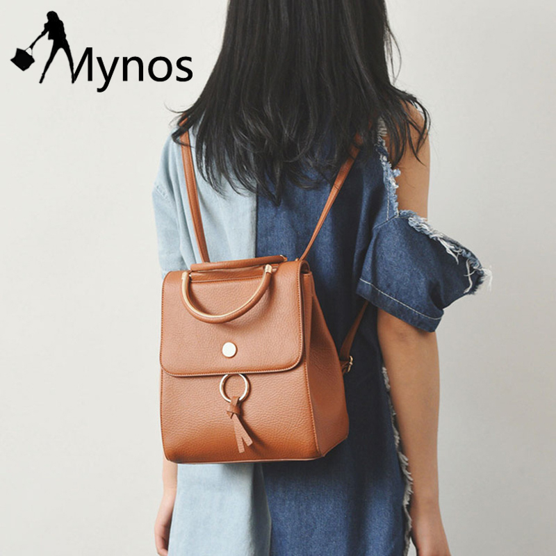 Mynos Women Metal Ring Backpacks Casual Faux leather Dackpack Purse for Girl Flap Rucksack Back Pack
