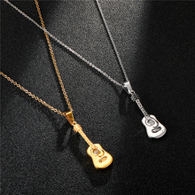 HIP Hop 316L Stainless Steel Gold Music Guitar Necklaces & Pendants Necklace for Men Jewelry 55cm Length Chain Dropshipping недорого
