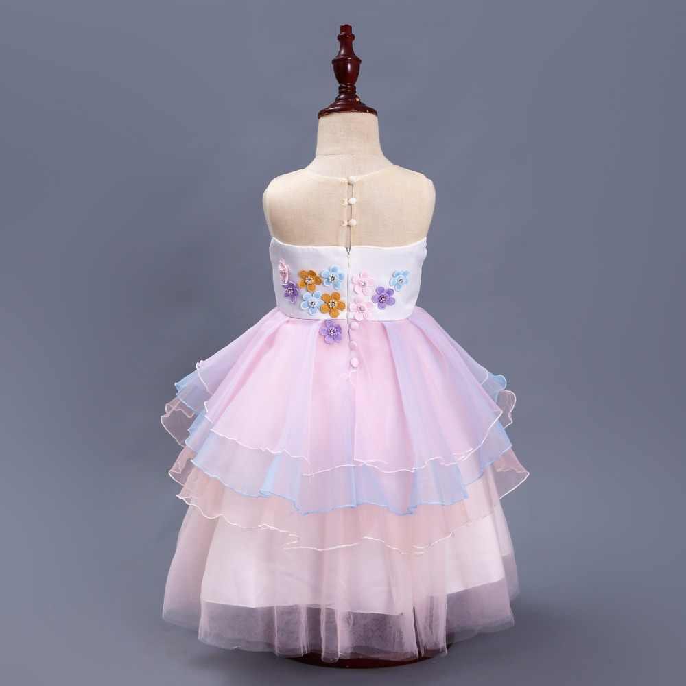 05ee0c6624e ... Необычные детские Единорог Платье с фатиновой юбкой для девочек вышитая  бальное платье детские для девочек в ...