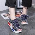 2017 Mulheres Verão Sandálias de Praia Da Moda Denim Jean Sapatos de Plataforma Fundo Grosso Rendas Até Dedo Aberto Sapatos sandalias mujer Z611