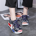 2017 Summer Women Beach Sandals Fashion Denim Jean Shoes Platform Thick Bottom Lace Up Open Toe Shoes Z611 sandalias mujer